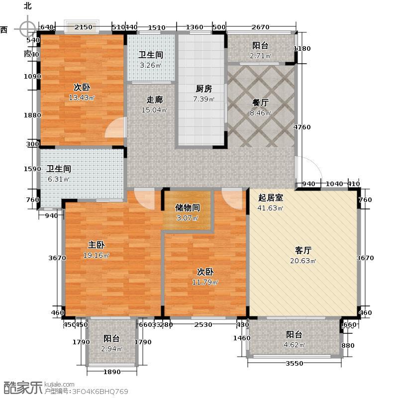 宏图上逸园102.85㎡、户型3室2卫1厨