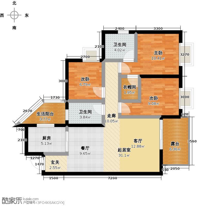 上东国际107.29㎡2号楼K1型户型3室2卫1厨