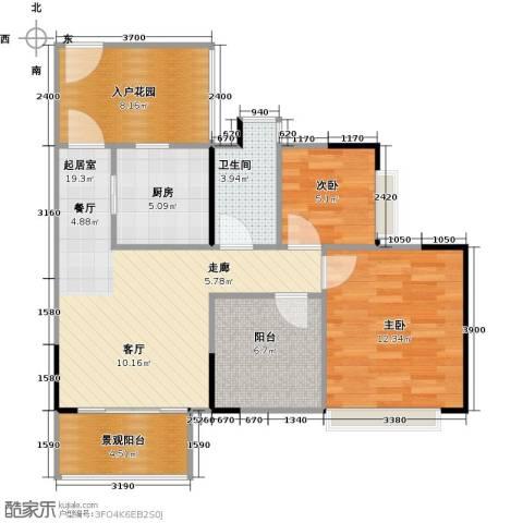 深业东城国际2室0厅1卫1厨82.00㎡户型图