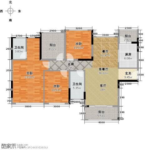 佳兆业东江豪门3室1厅2卫1厨155.00㎡户型图