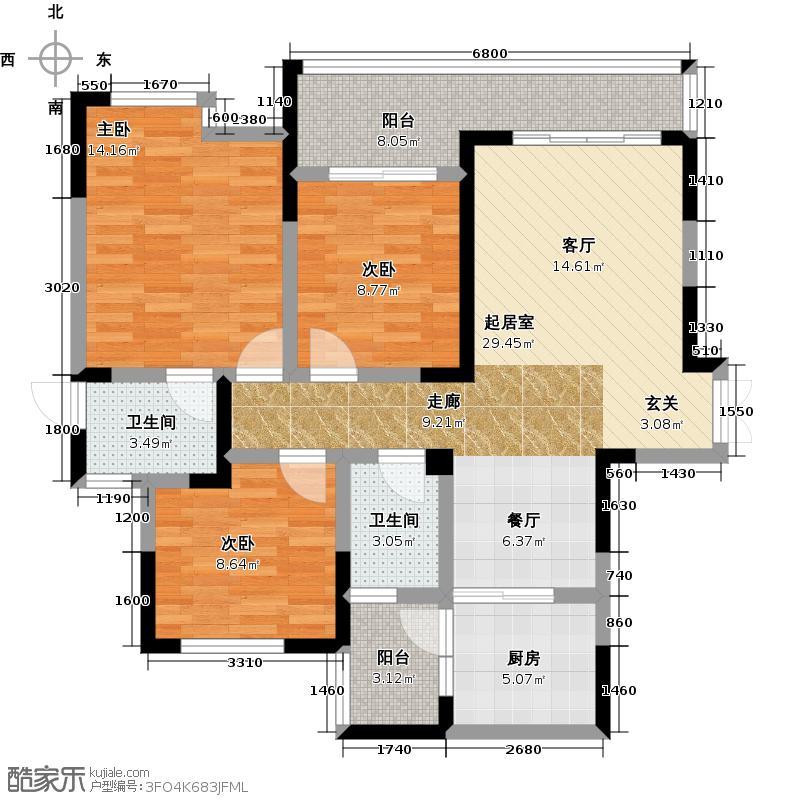 金辉枫尚108.44㎡D-10户型3室2卫1厨