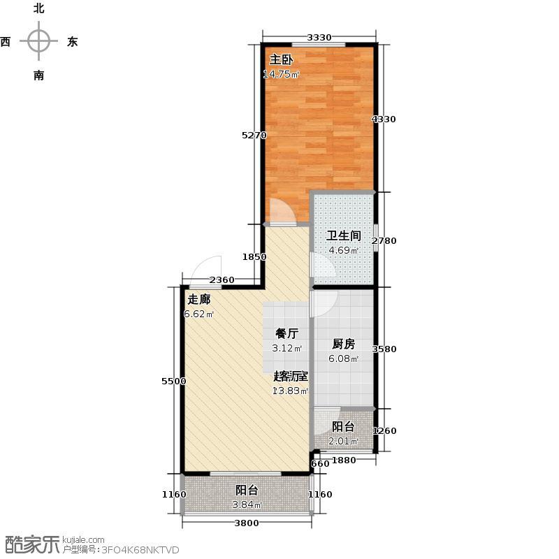瑞雪春堂65.91㎡28号楼A15户型1室1卫1厨