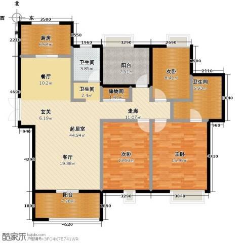 苏宁雅居3室0厅2卫1厨132.00㎡户型图
