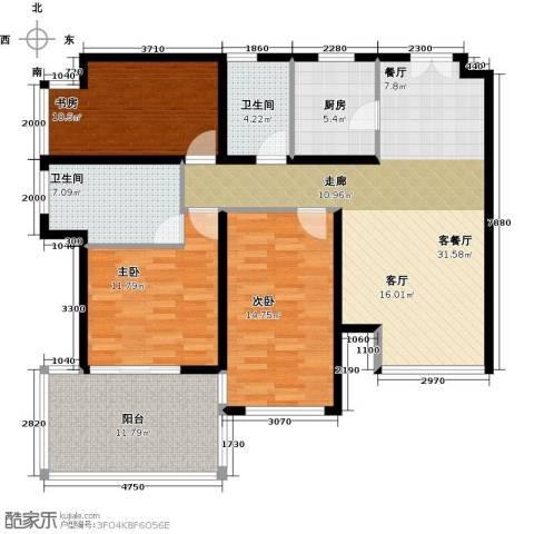 K2清水湾3室1厅2卫1厨112.00㎡户型图