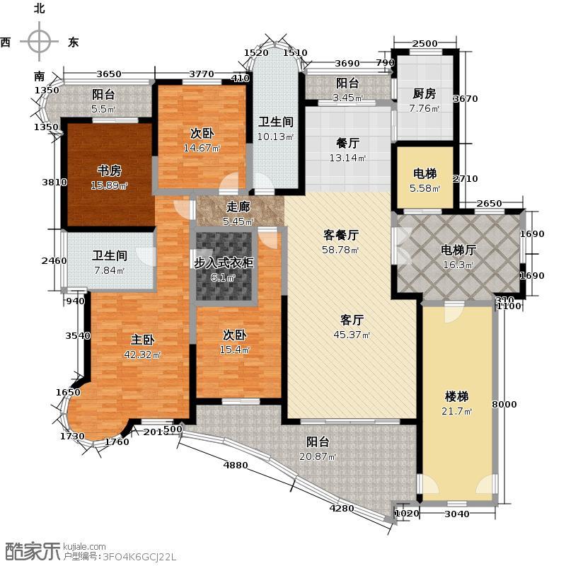 东方一品267.61㎡B户型3室1厅2卫1厨