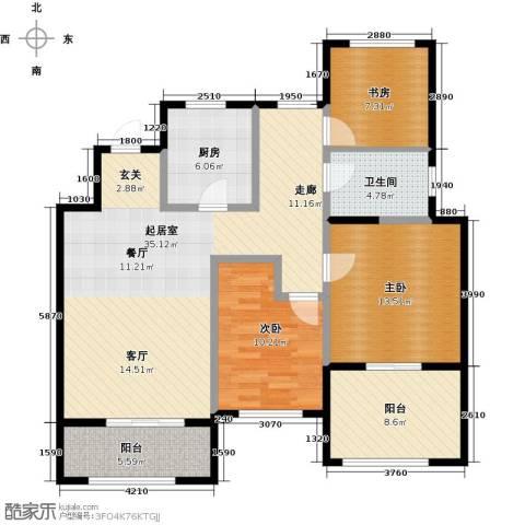 金地湖城艺境3室0厅1卫1厨103.00㎡户型图