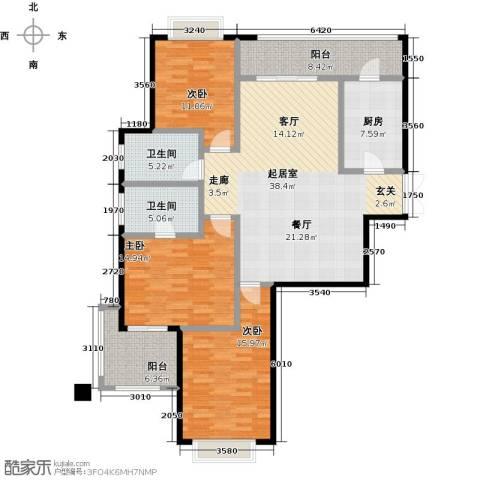 麒麟山庄3室0厅2卫1厨127.00㎡户型图