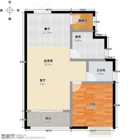 麒麟山庄1室0厅1卫1厨69.00㎡户型图
