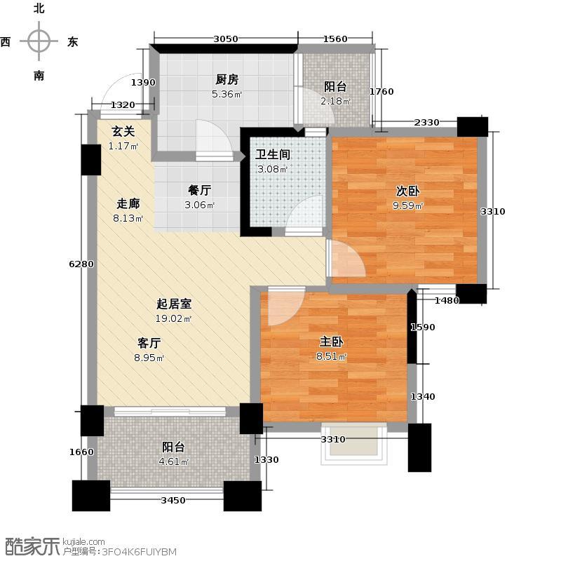 双楠尚品广场72.00㎡J户型2室1卫1厨