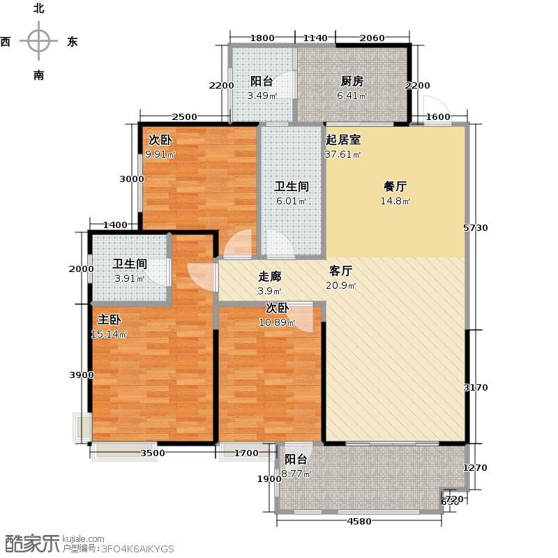 华侨城原岸122.66㎡123#D3双卫户型3室2卫1厨