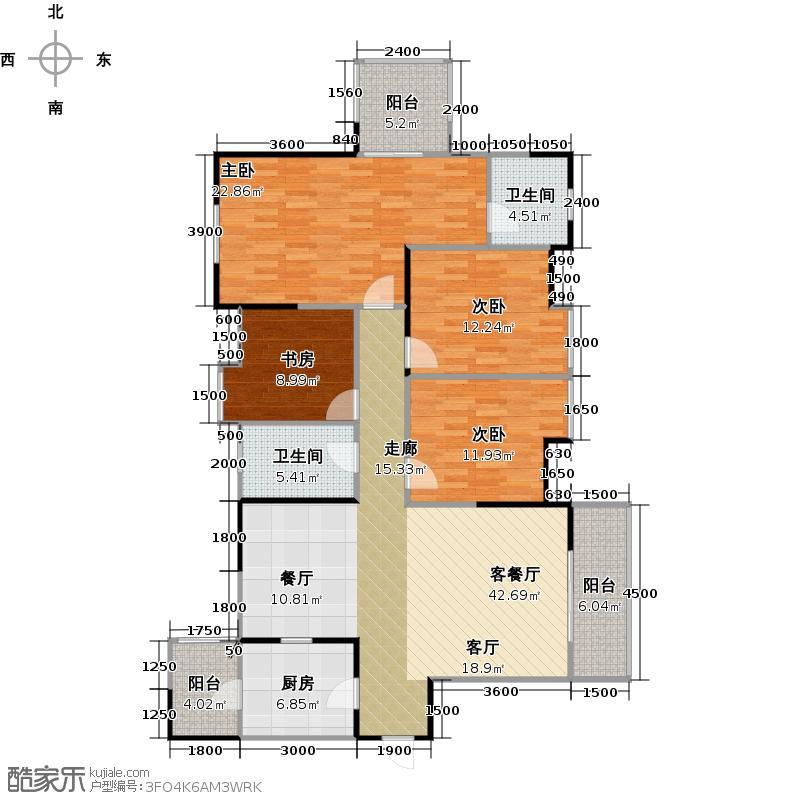 春天国际153.23㎡一期1号楼A4户型4室1厅2卫1厨