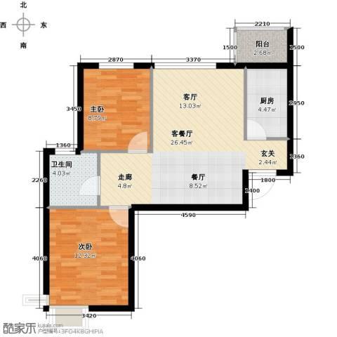 DBC加州小镇2室1厅1卫1厨82.00㎡户型图