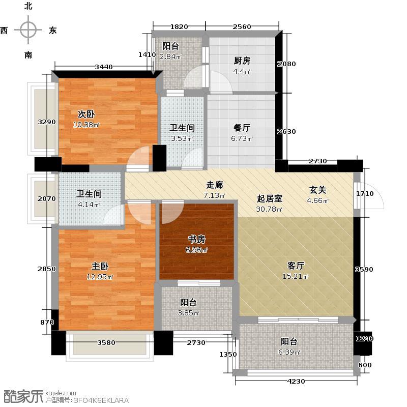 香木林花园里112.60㎡4栋A1户型3室2卫1厨