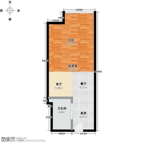城市之光国际公寓1卫0厨56.00㎡户型图