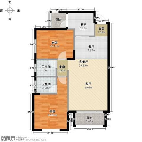 凤凰花园城2室1厅2卫1厨96.00㎡户型图