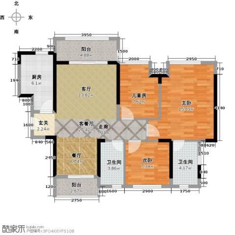 名巨中央花园3室1厅2卫1厨79.95㎡户型图