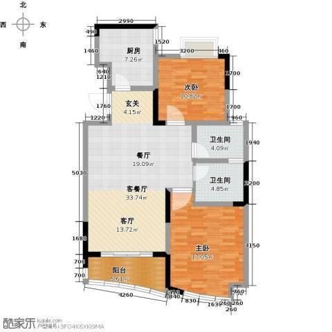 世纪东山2室1厅2卫1厨92.00㎡户型图