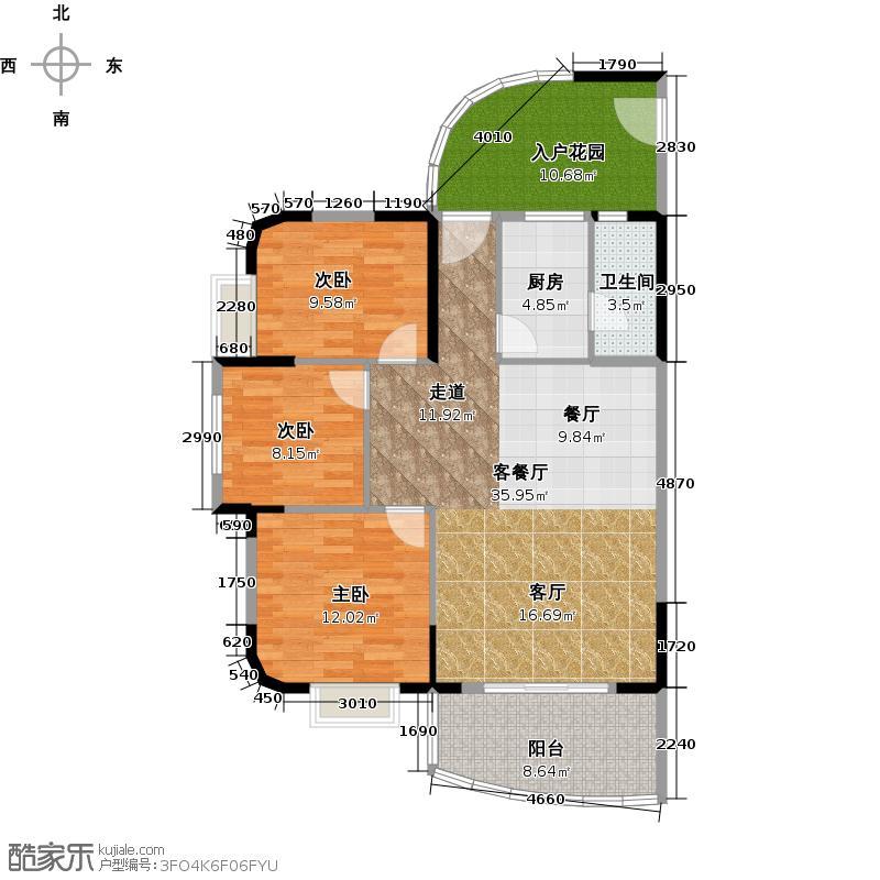 丽湾花园103.04㎡户型3室1厅1卫1厨