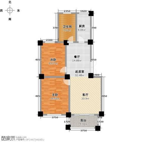 协众财富广场2室0厅1卫1厨92.00㎡户型图