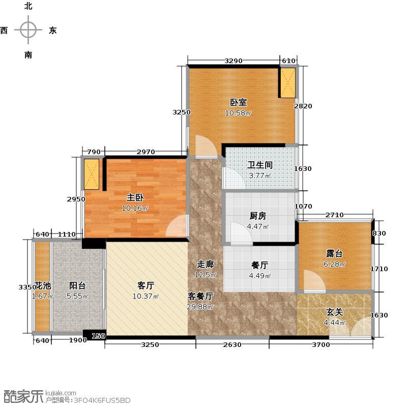 万象新天79.09㎡2-3栋3层04型户型1室1厅1卫1厨