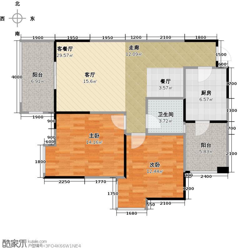 春天国际87.00㎡一期1、10号楼C4户型2室1厅1卫1厨