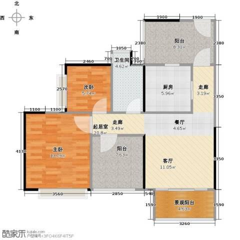 深业东城国际2室0厅1卫1厨81.00㎡户型图