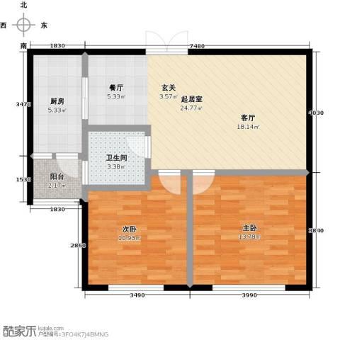 协众财富广场2室0厅1卫1厨85.00㎡户型图