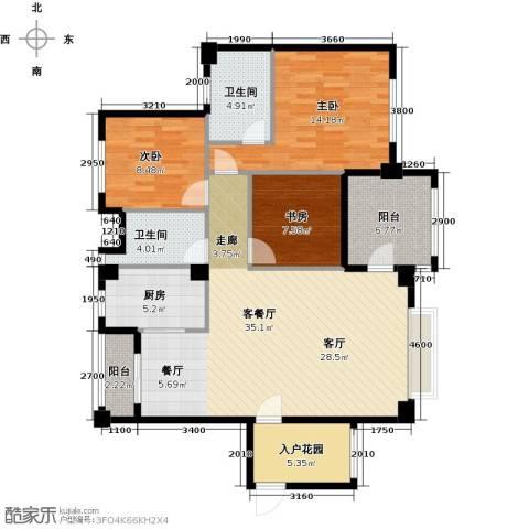 凤凰花园城3室1厅2卫1厨132.00㎡户型图
