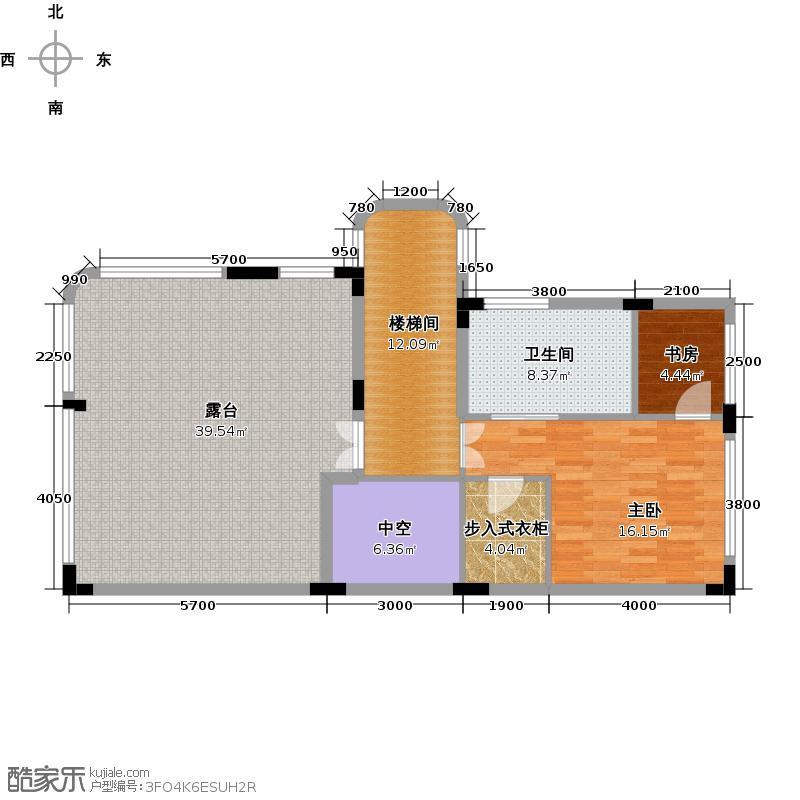 嘉爵园242.00㎡B区联排别墅三层平面图户型2室1卫