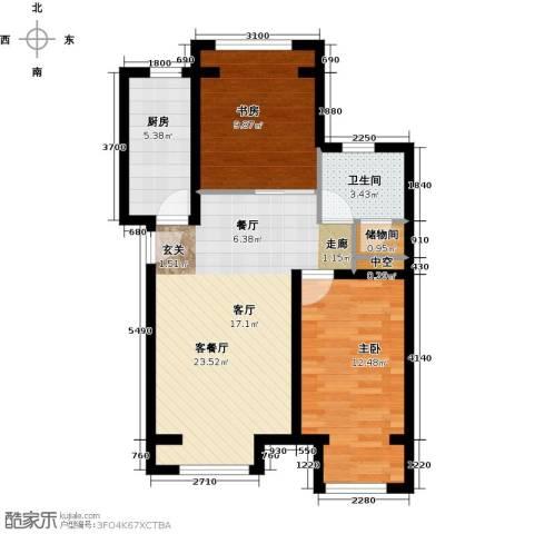 中海御鑫阁2室1厅1卫1厨91.00㎡户型图