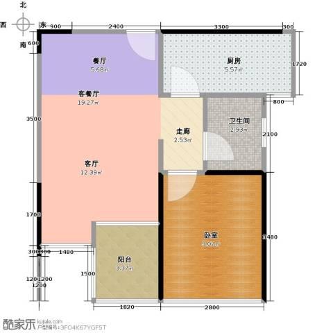 3号线城市公寓1厅1卫1厨40.16㎡户型图