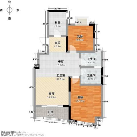 世纪东山2室0厅2卫1厨88.00㎡户型图