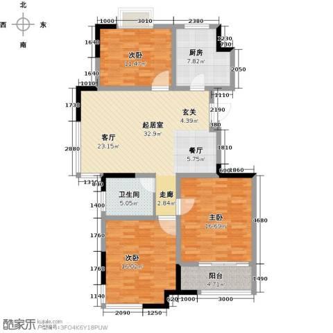 世纪东山3室0厅1卫1厨108.00㎡户型图