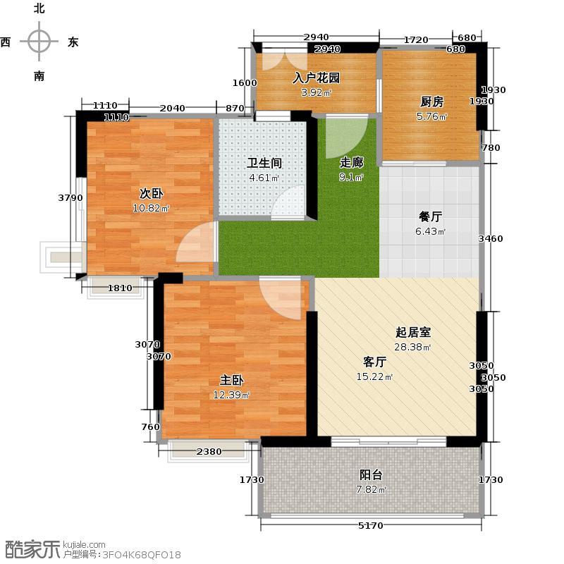 中国铁建荔湾国际城82.00㎡7栋2单元2~33层02户型2室1卫1厨