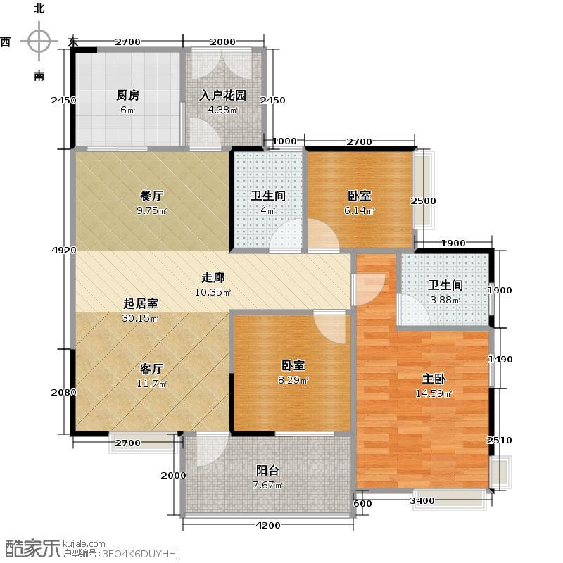 御金沙108.00㎡几米组团二期E2栋04户型1室2卫1厨