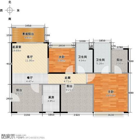 深业东城国际2室0厅2卫1厨87.00㎡户型图