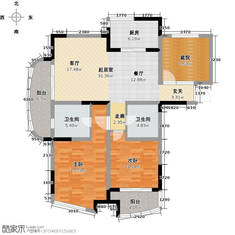 世纪东山113.57㎡C3户型2室2卫1厨