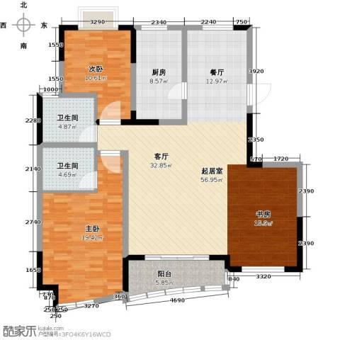 世纪东山2室0厅2卫1厨124.00㎡户型图