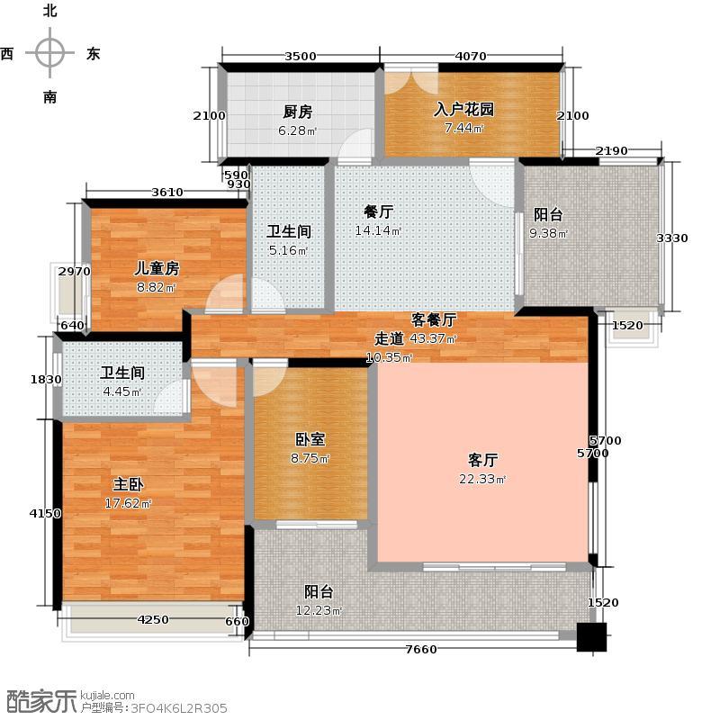越秀・滨海�城138.00㎡15栋01单位户型2室1厅2卫1厨