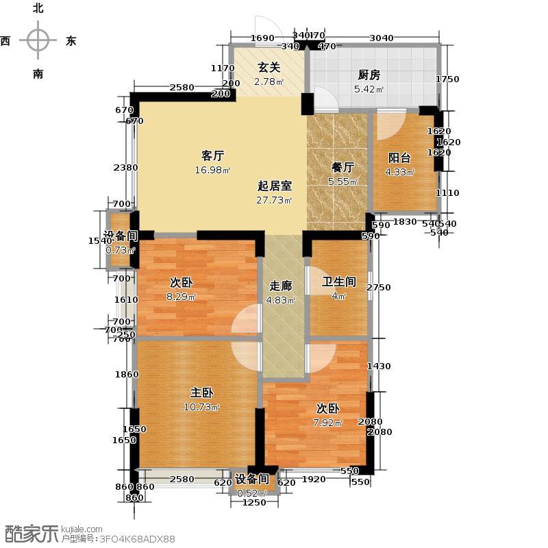 成功红树林85.71㎡1栋1号楼A3户型3室1卫1厨