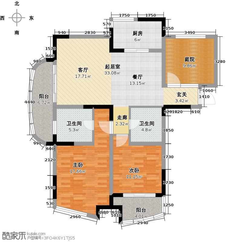 世纪东山113.57㎡C3型户型2室2卫1厨