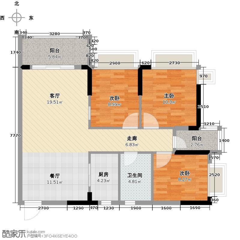 东城华庭98.67㎡A4栋04单位户型3室1厅1卫1厨