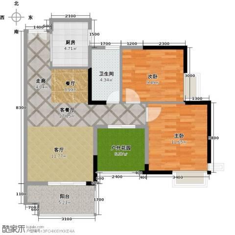 港口国际2室1厅1卫1厨86.00㎡户型图