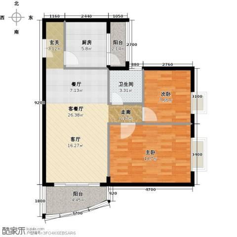 世纪新潮豪园2室1厅1卫1厨90.00㎡户型图