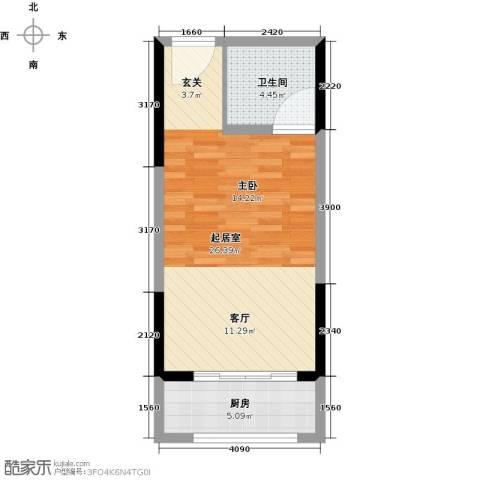 晓庄国际广场1卫1厨41.00㎡户型图