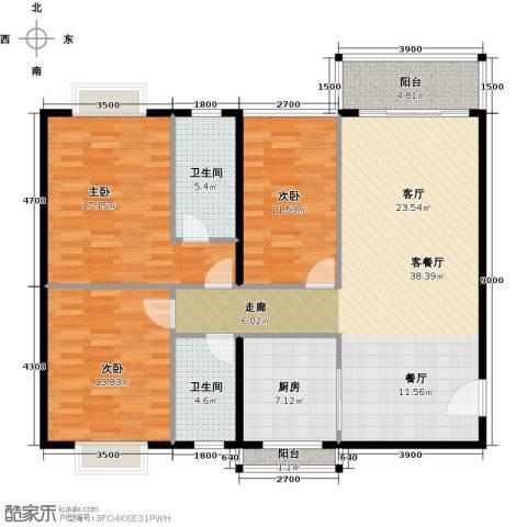 世纪新潮豪园3室1厅2卫1厨143.00㎡户型图