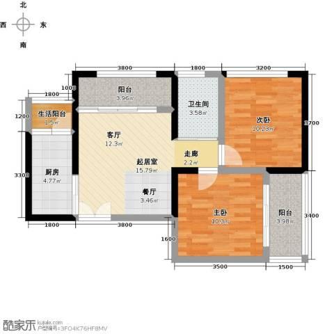 晓庄国际广场2室0厅1卫1厨81.00㎡户型图
