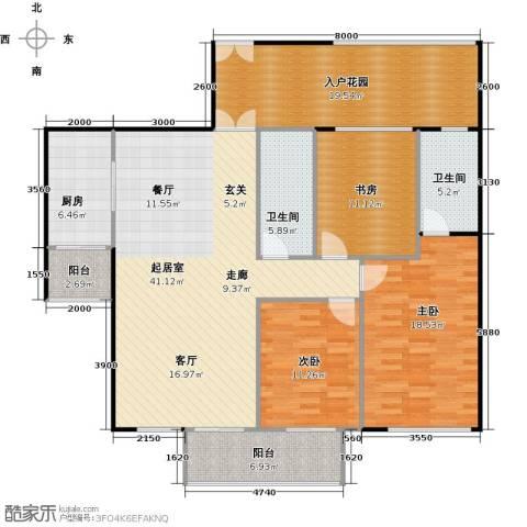 龙城国际3室0厅2卫1厨172.00㎡户型图