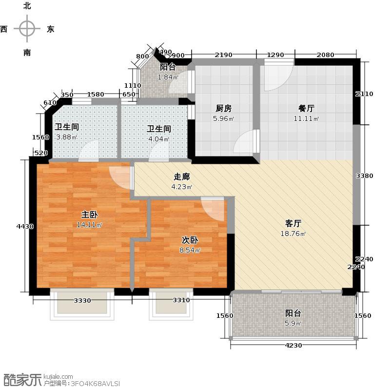 合和新城92.46㎡金枫二街A、C栋2-14层0户型2室1厅2卫1厨