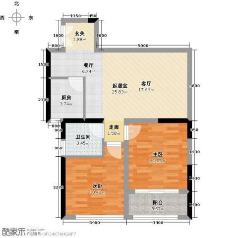 晓庄国际广场2室0厅1卫1厨84.00㎡户型图